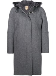 Fay Cocoon Fitted Coat Acrylic Polyamide Polyester Virgin Wool Xl Grey