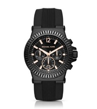 Michael Kors Dylan Pave Black Silicone Watch