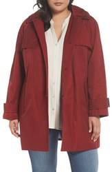 London Fog Plus Size Women's Removable Hood Rain Jacket Red