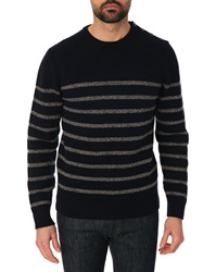 Hackett Striped Navy Blue And Grey Wool And Cashmere Round Neck Jumper