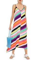 Topshop Stripe Maxi Dress Black Multi