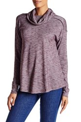 Wild Pearl Long Sleeve Cowl Neck Sweater Red