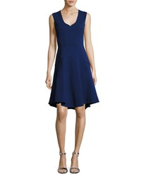 J. Mendel Sleeveless Seamed Cocktail Dress Navy