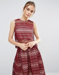 Endless Rose Lace Contrast Panel Top Burgundy Red