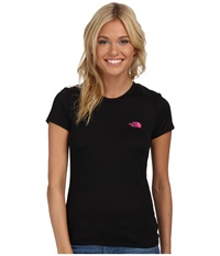 The North Face S S Reaxion Amp Tee Tnf Black Glo Pink Women's T Shirt