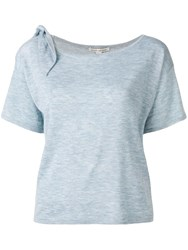 Autumn Cashmere Tied Shoulder T Shirt Blue