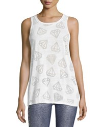 Terez Diamond Burnout Racerback Muscle Tee White