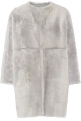 Karl Donoghue Reversible Shearling Coat Light Gray