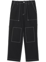 Burberry Topstitch Detail Wool Blend Wide Leg Trousers Black