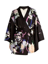 Marc Jacobs Floral Print Sequin Embellished Satin Wrap Dress Black Multi