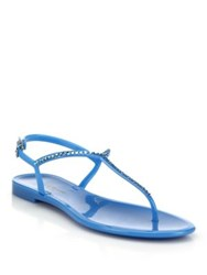 Lk Bennett Lola Swarovski Crystal Jelly Flat Sandals Marshmallow Watermelon Blue