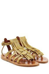 K. Jacques K.Jacques Leather Sandals With Fringe Gold