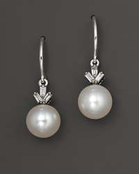 Bloomingdale's Cultured Freshwater Pearl Drop Earrings With Diamonds In 14K White Gold No Color