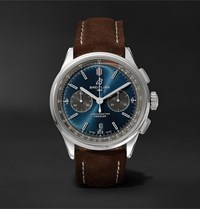 Breitling Premier B01 Chronograph 42Mm Stainless Steel And Nubuck Watch Ref. No. Ab0118a61c1x1 Blue