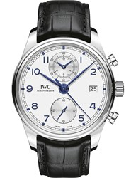 Iwc Iw390302 Portugieser Stainless Steel And Leather Chronograph Watch