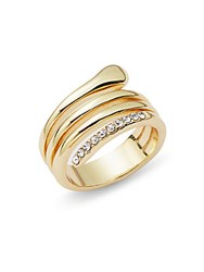 Saks Fifth Avenue Crystal Glinting Ring Gold