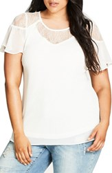 City Chic Plus Size Women's Whimsy Lace Yoke Top Ivory
