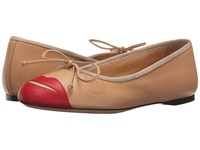 Charlotte Olympia Kiss Me Darcy Nude Red Calfskin Women's Slip On Shoes Tan
