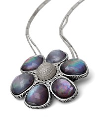 Verona Mother Of Pearl And Icy Diamond Short Flower Necklace Stephen Dweck Silver