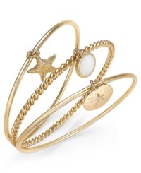 Charter Club Gold Tone Trio Set Nautical Bangle Bracelets Only At Macy's
