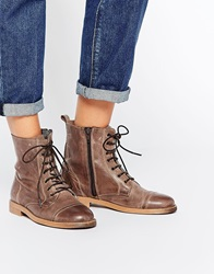 Park Lane Leather Worker Lace Up Ankle Boots Brownleather
