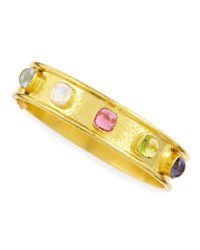 Elizabeth Locke Tutti Frutti Stone Studded 19K Gold Bangle