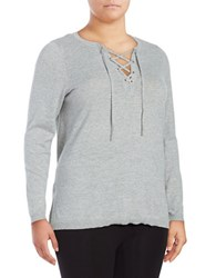 Marc New York V Neck Lace Up Sweater Light Grey