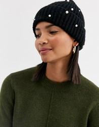 Accessorize Pearl Knitted Beanie In Black