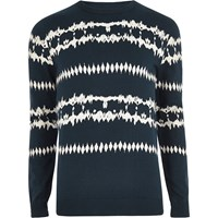 River Island Mens Dark Blue Aztec Tie Dye Jumper