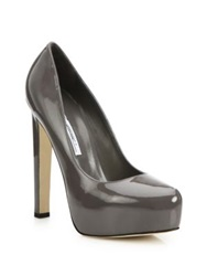 Brian Atwood Maniac Patent Leather Platform Pumps Grey Black