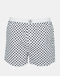Asos Woven Boxers With Polka Dot Print White