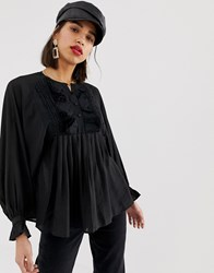 Lost Ink Relaxed Blouse With Ruffle V Neck Black