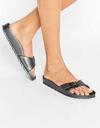 Birkenstock Madrid Metallic Narrow Fit Slide Flat Sandals Metallic Anthracite Black