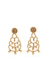 Sonia Rykiel Beaded Drop Clip On Earrings Gold