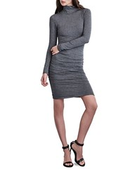 Velvet By Graham And Spencer Cinched Long Sleeve Dress Charcoal Grey