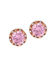 Betsey Johnson All That Glitters Ruffled Cubic Zirconia Stud Earrings Pink