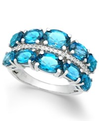 Macy's London Blue Topaz 6 3 8 Ct. T.W. And Diamond 1 8 Ct. T.W. Ring In Sterling Silver