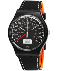 Swatch Unisex Swiss Analog Digital Black Brake Orange And Black Double Layer Silicone Strap Watch 41Mm Suob117