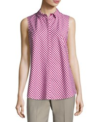 Lafayette 148 New York Nadie Sleeveless Check Print Blouse Sangria