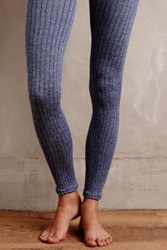 Anthropologie Marled Knit Tights Blue