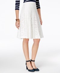 Tommy Hilfiger Lace Eyelet Skirt Only At Macy's White