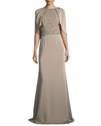 David Meister Capelet Jewel Bodice Short Sleeve Gown Taupe