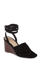 Topshop Women's Whirl Cross Strap Wedge Black Leather