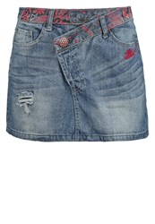 Desigual Mini Skirt Denim Medium Wash Bleached Denim