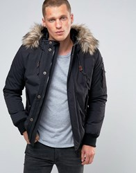 Schott Vermont 4 Hooded Bomber Detatchable Faux Fur Trim Black