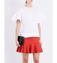 Victoria Beckham Ruffled Cotton Poplin Top White