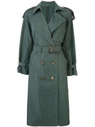 Le Ciel Bleu Double Breasted Belted Trench Coat Green