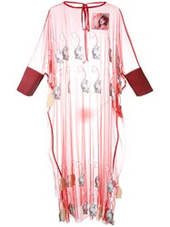 Jenny Fax Sheer Mouse Applique Dress Red