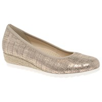 Gabor Epworth Wide Wedge Heeled Court Shoes Beige