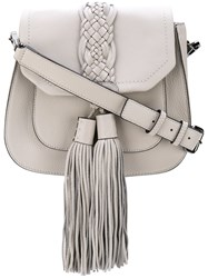 Rebecca Minkoff Fringed Hobo Bag Women Cotton Calf Leather One Size Grey